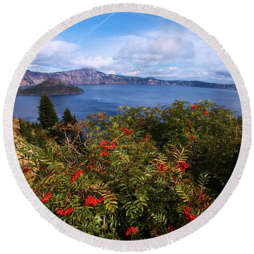 Crater Lake National Park Round Beach Towel featuring the photograph Berries By The Lake by Adam Jewell