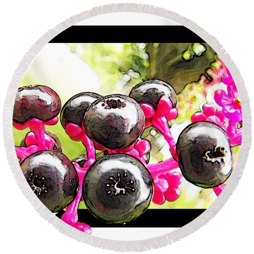 Nature Round Beach Towel featuring the photograph Berry Burst  Poke Berries by Debbie Portwood