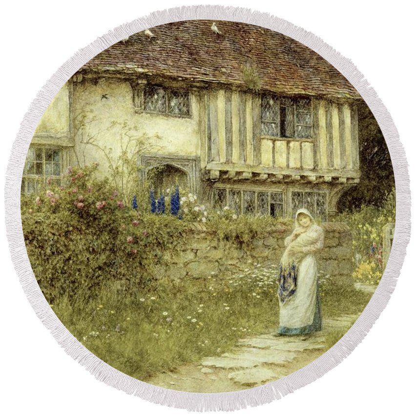 Cottage; Mother And Child; Gate; Rural Scene; Country; Countryside; Timber Frame; Half-timbered; Home; Path; Garden; Wildflowers Picturesque; Idyllic; House; Female Round Beach Towel featuring the painting Beside The Old Church Gate Farm Smarden Kent by Helen Allingham