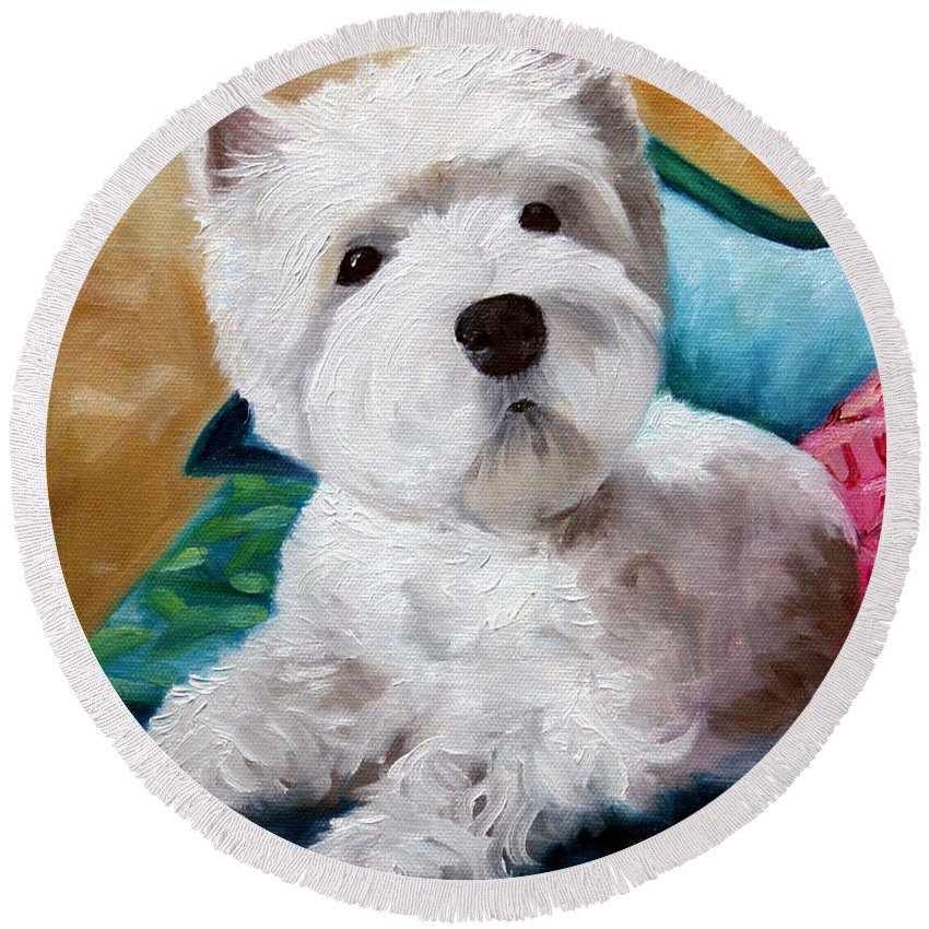 Art Round Beach Towel featuring the painting Best Friend by Mary Sparrow