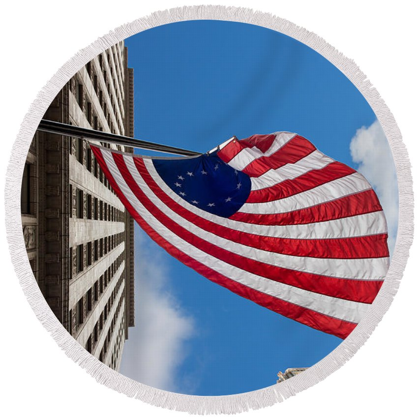 Banner Round Beach Towel featuring the photograph Betsy Ross Flag In Chicago by Semmick Photo