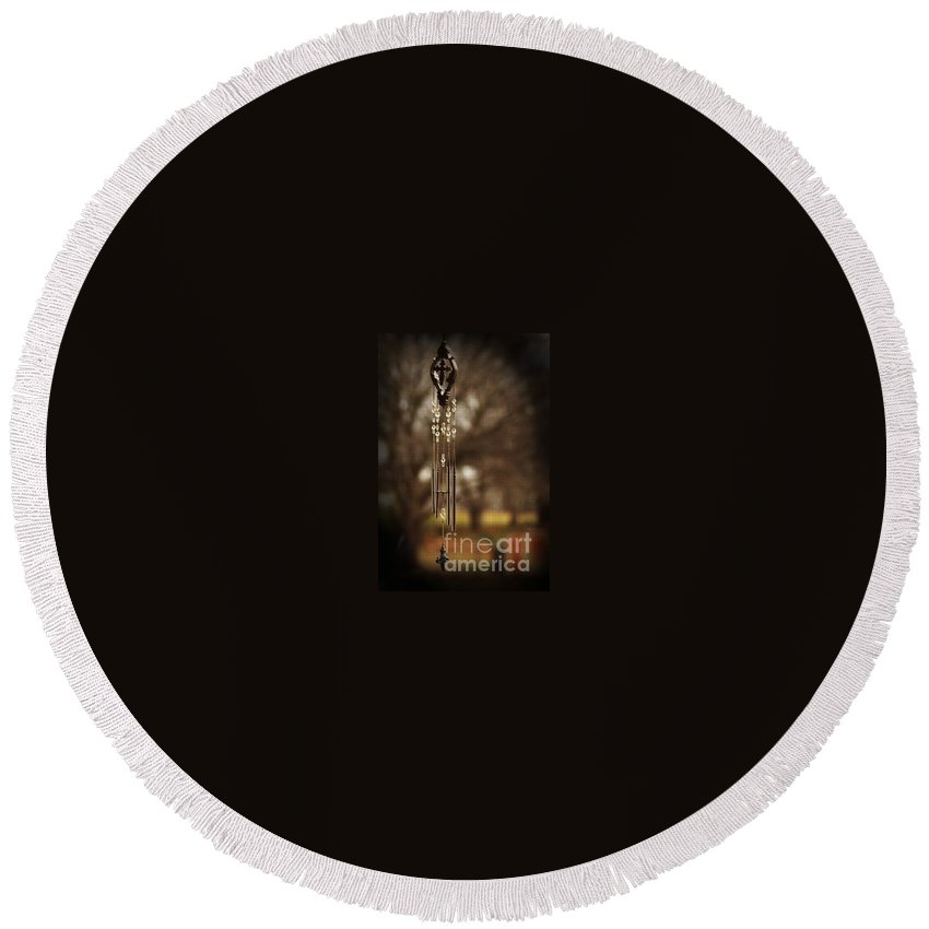 Wind Chimes Round Beach Towel featuring the photograph Beyond by Kim Henderson