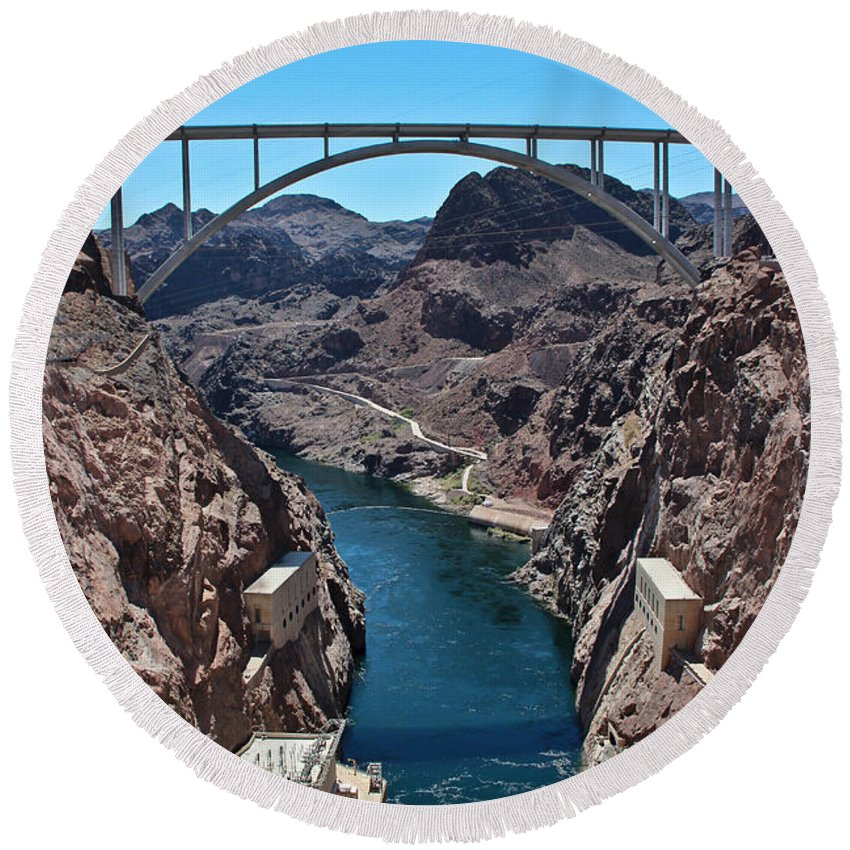 Colorado River Round Beach Towel featuring the photograph Beyond The Hoover Dam Spillway by Heidi Smith