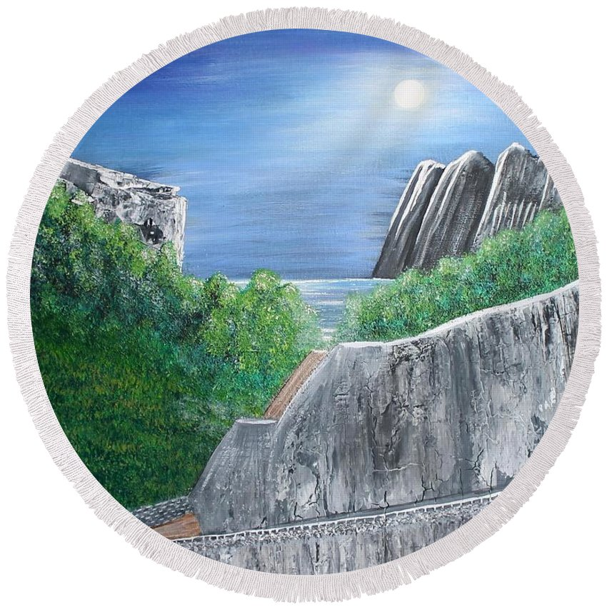 Rocks Round Beach Towel featuring the painting Beyond The Rock by Debbie Levene