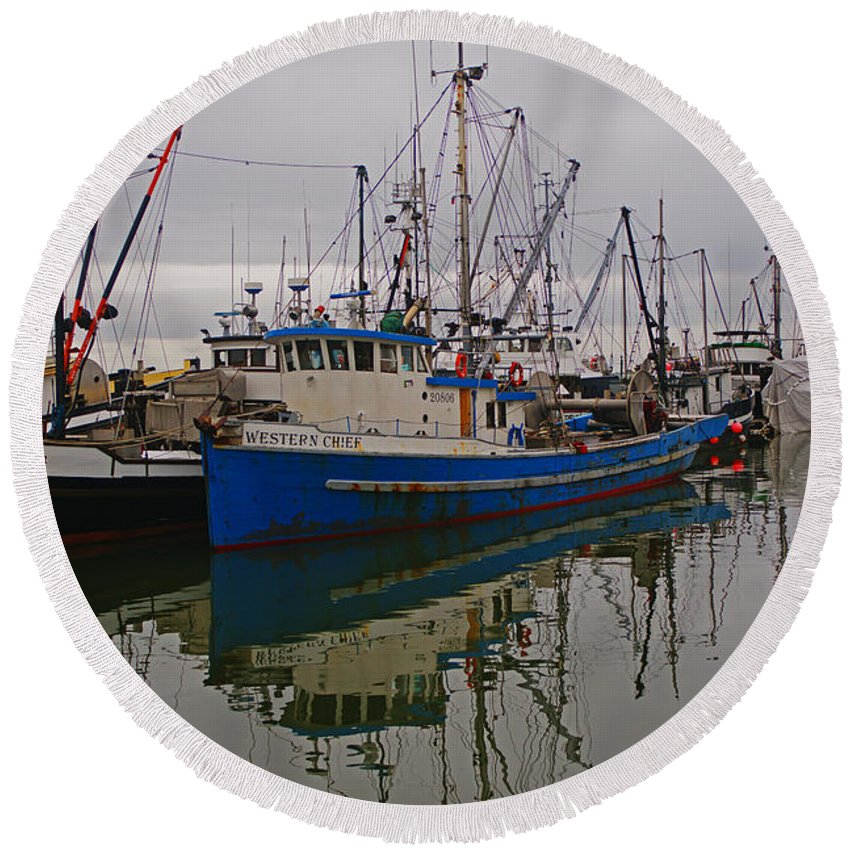 Fishing Boats Round Beach Towel featuring the photograph Big Blue Fishing Boat by Randy Harris
