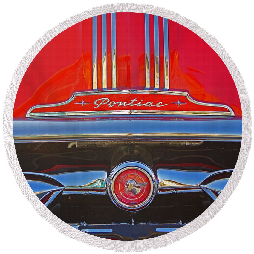 Custom Cars Round Beach Towel featuring the photograph Big Red Pontiac by Randy Harris