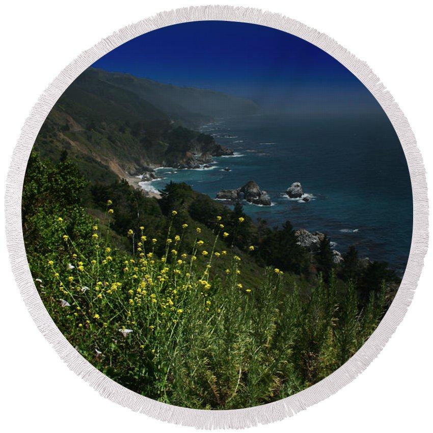 Big Sur Round Beach Towel featuring the photograph Big Sur California by Benjamin Dahl