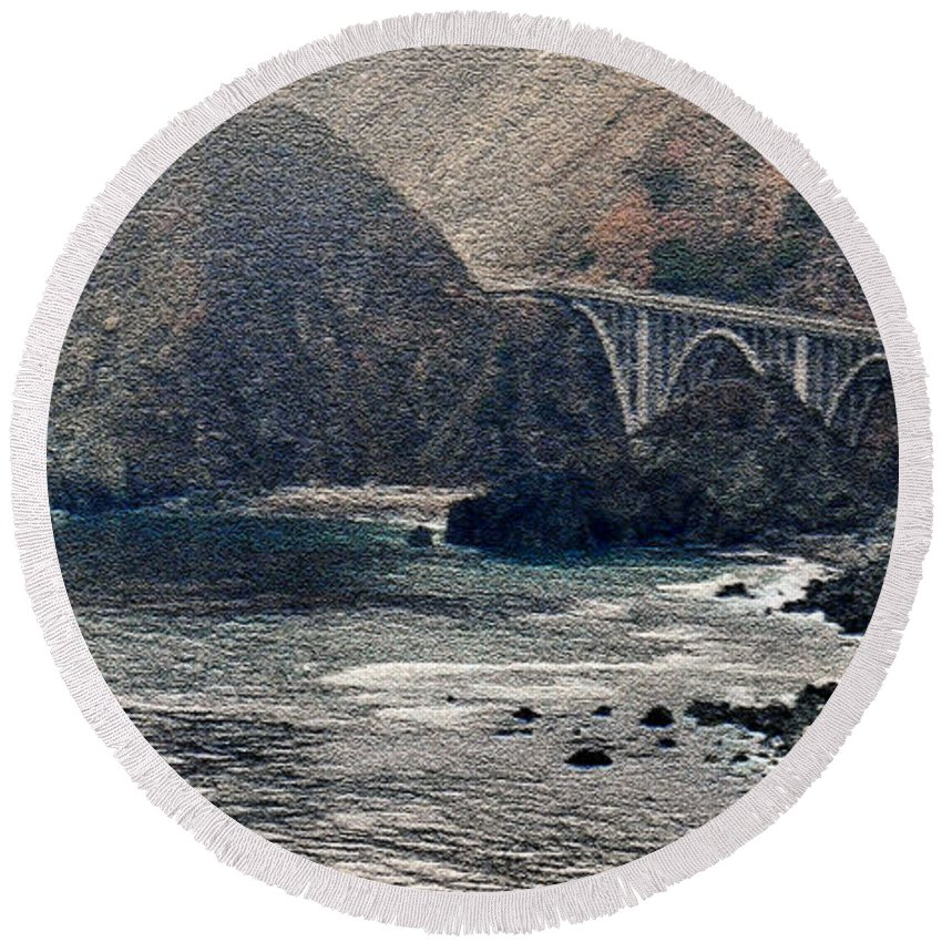 Big Sur Round Beach Towel featuring the photograph Big Sur by Lydia Holly