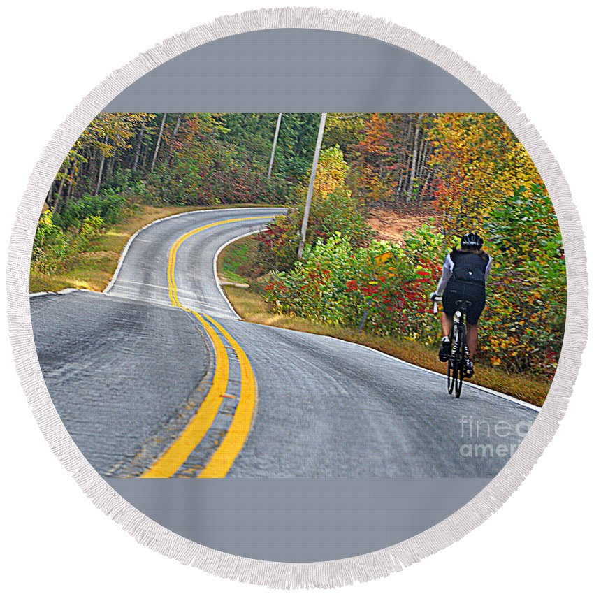 Autumn Colors Round Beach Towel featuring the photograph Biking In Autumn by Lydia Holly