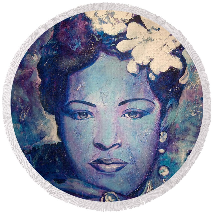 Billie Holiday Round Beach Towel featuring the painting Billie's Eyes by Jerome White