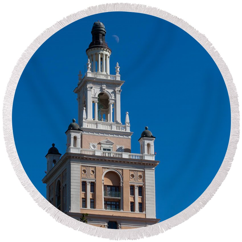 Biltmore Round Beach Towel featuring the photograph Biltmore Hotel Tower And Moon by Ed Gleichman