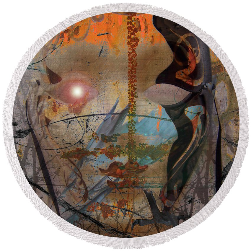 Round Beach Towel featuring the photograph Bird Lady by The Artist Project