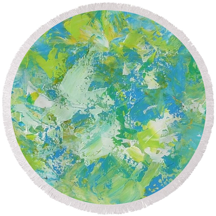 Abstract Round Beach Towel featuring the painting Birds by Claire Gagnon