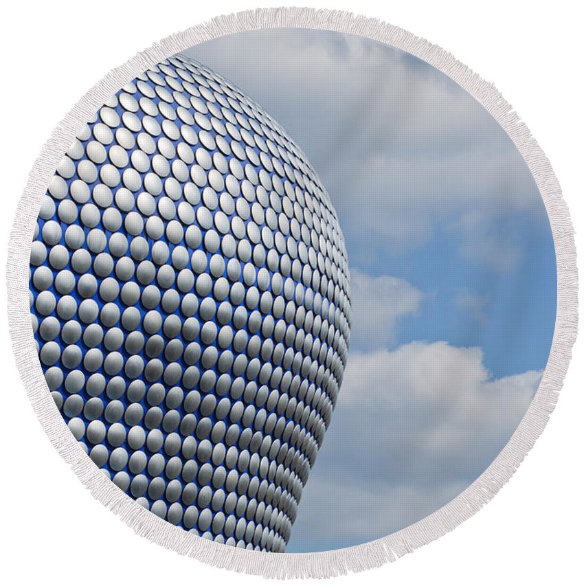 Birmingham Round Beach Towel featuring the photograph Birmingham Modern Building by Andrew Michael