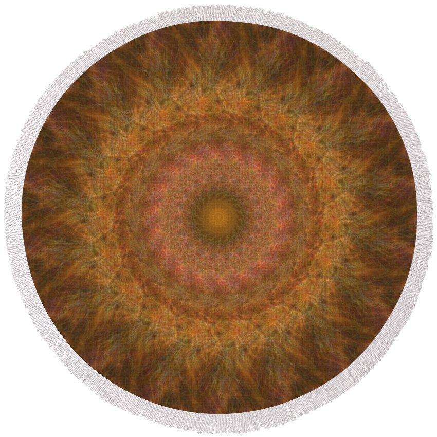 Mandala Round Beach Towel featuring the digital art Birthing Mandala 18 by Rhonda Barrett