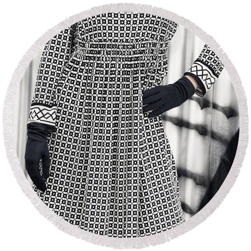 Female Round Beach Towel featuring the photograph Black And White by Joana Kruse