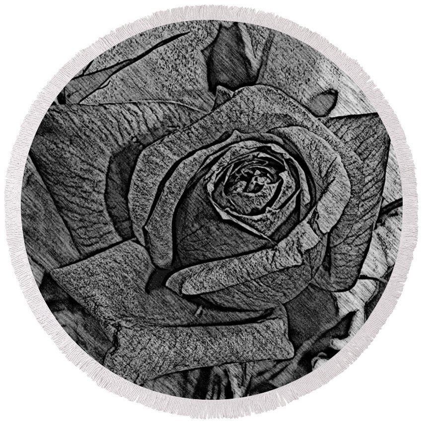 Rose Round Beach Towel featuring the photograph Black And White Rose Sketch by Barbara Griffin