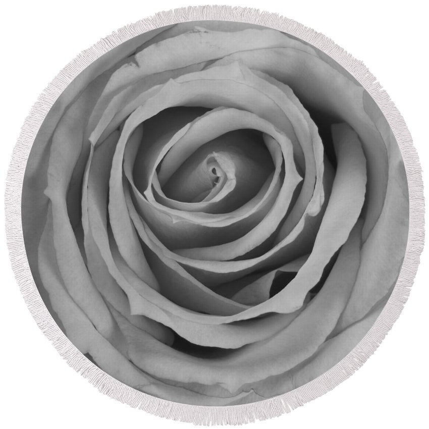 Spiral Round Beach Towel featuring the photograph Black And White Spiral Rose Petals by James BO Insogna