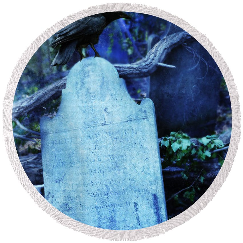 Tombstone Round Beach Towel featuring the photograph Black Bird Perched On Old Tombstone by Jill Battaglia