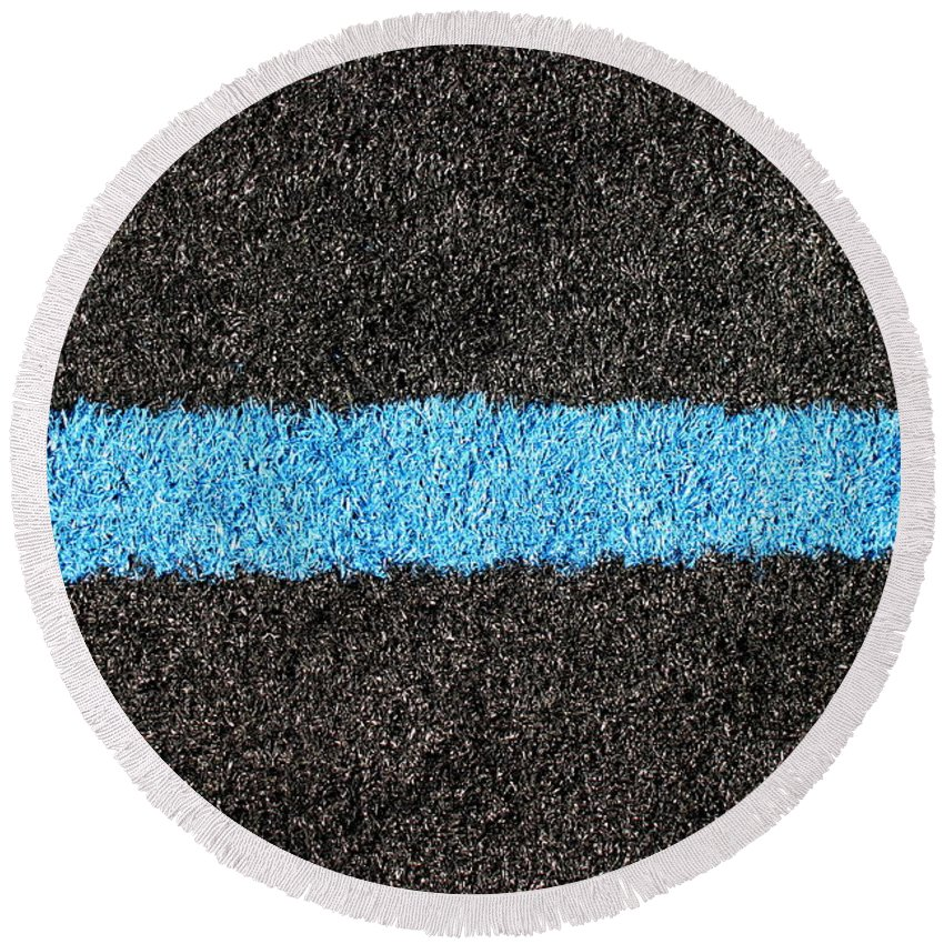 Black Round Beach Towel featuring the photograph Black Blue Lawn by Henrik Lehnerer
