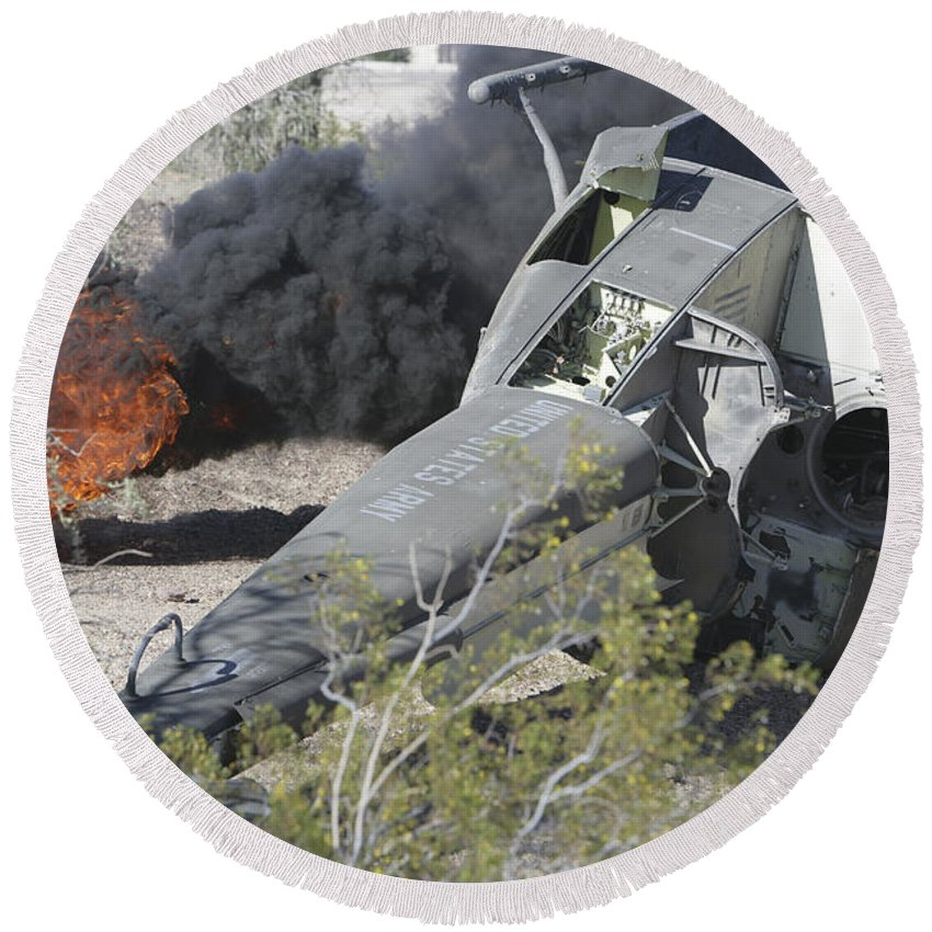 Transportation Round Beach Towel featuring the photograph Black Smoke Rises To The Air by Stocktrek Images