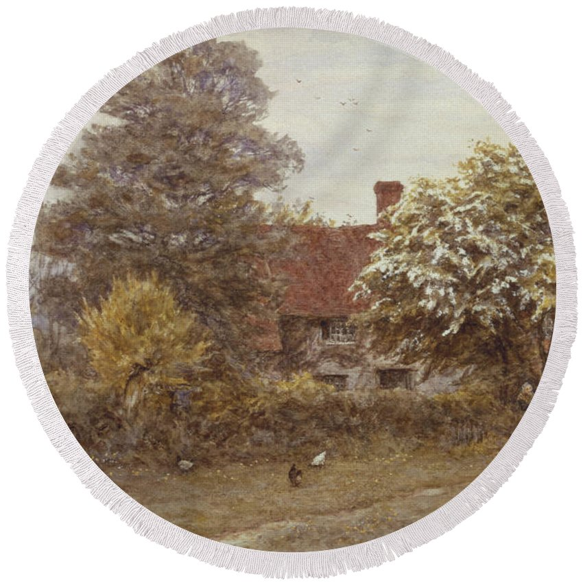Blake's House Round Beach Towel featuring the painting Blake's House Hampstead Heath by Helen Allingham