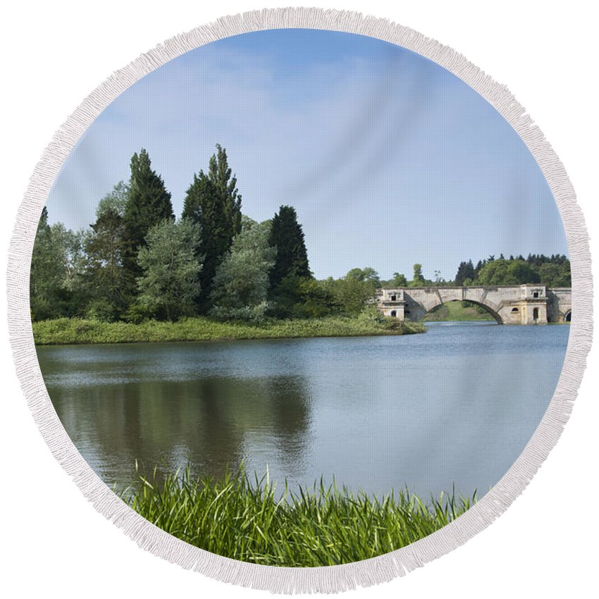 2011 Round Beach Towel featuring the photograph Blenheim Palace's Lake by Andrew Michael