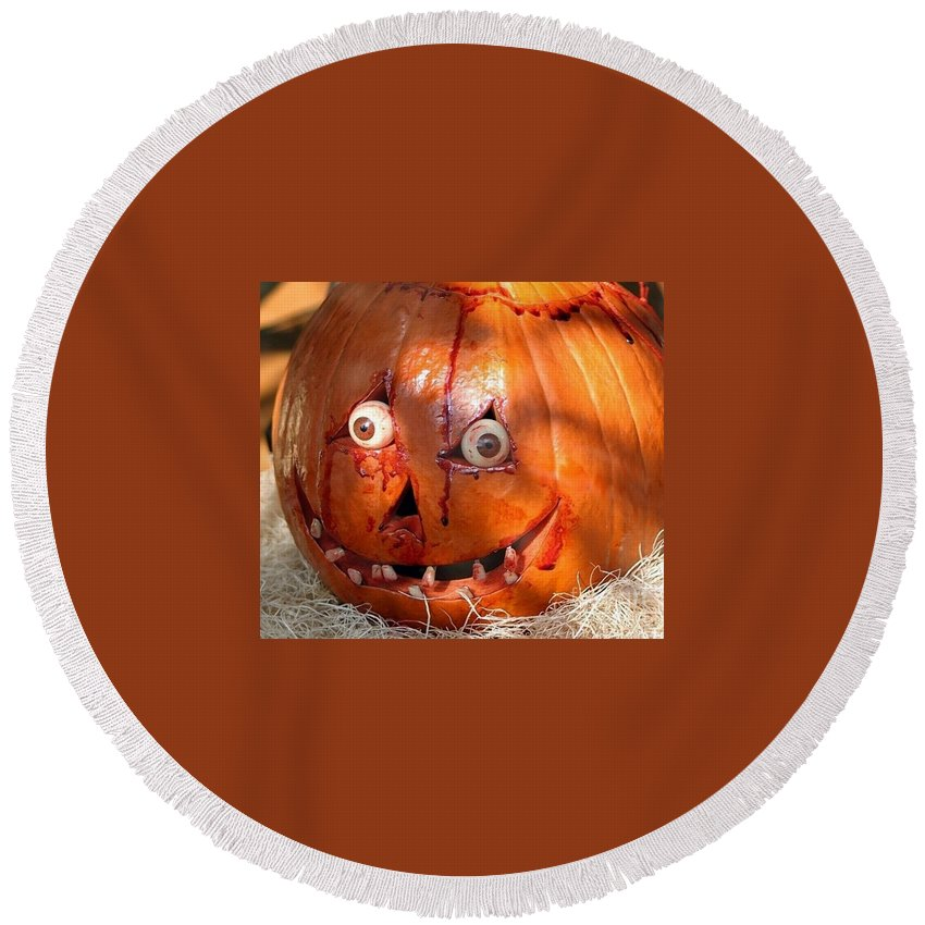 Pumpkin Round Beach Towel featuring the photograph Bloody Pumpkin by Living Color Photography Lorraine Lynch