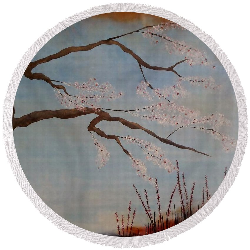 Asian Round Beach Towel featuring the painting Blossoms Over The Lake by Catherine JN Christopher