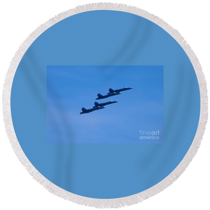 Blue Angels Round Beach Towel featuring the photograph Blue Angels 16 by Mark Dodd