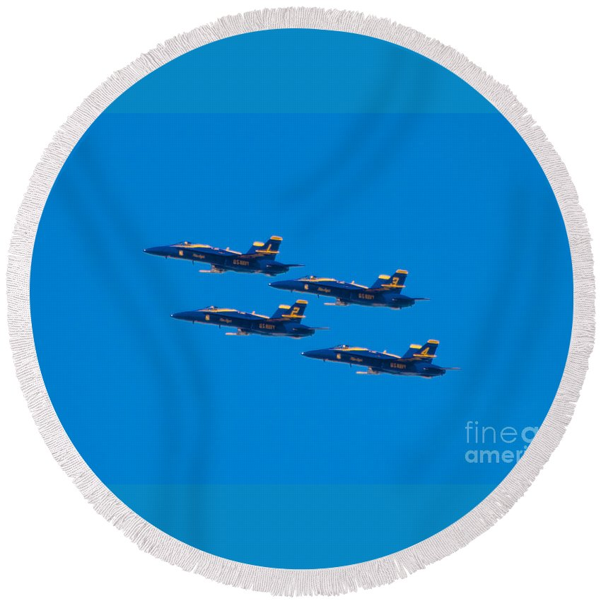 Blue Angels Round Beach Towel featuring the photograph Blue Angels 25 by Mark Dodd