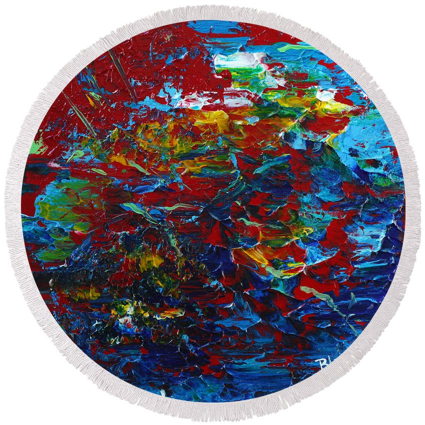 Bold Abstract Round Beach Towel featuring the painting Blue Bloods by Donna Blackhall
