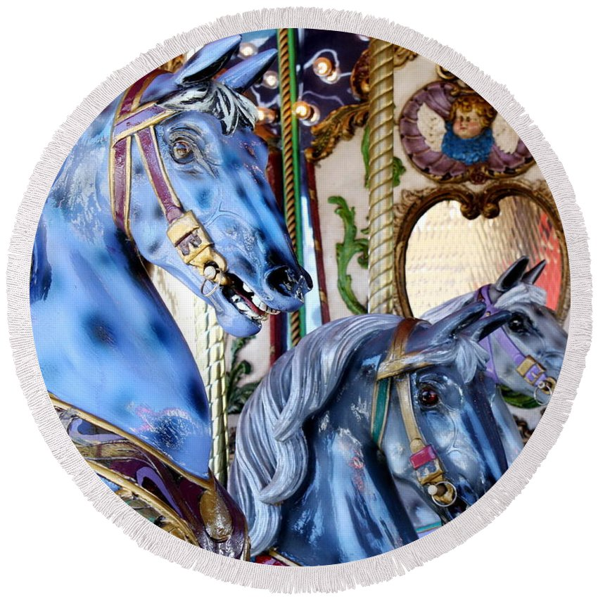 Carousel Round Beach Towel featuring the photograph Blue Carousel Merry Go Round Horses by Terry Fleckney