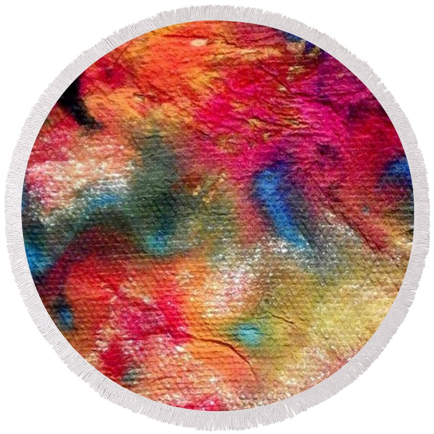 Acrylic Round Beach Towel featuring the painting Blue Dancer by Angela L Walker