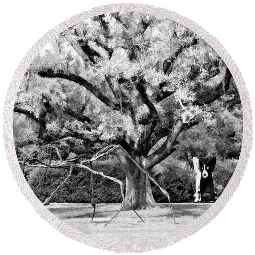 New Orleans Round Beach Towel featuring the photograph Blue Dog And The Spider Infrared by Steve Harrington