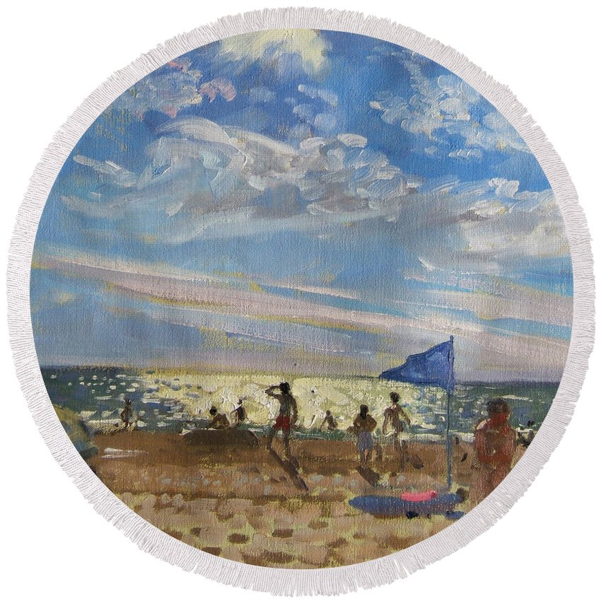 Seaside Round Beach Towel featuring the painting Blue Flag And Red Sun Shade by Andrew Macara