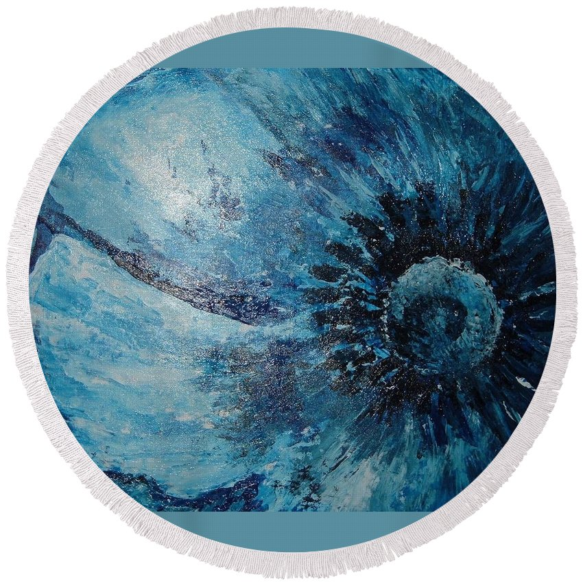 Textured Round Beach Towel featuring the painting Blue Flower by Julie Cranfill