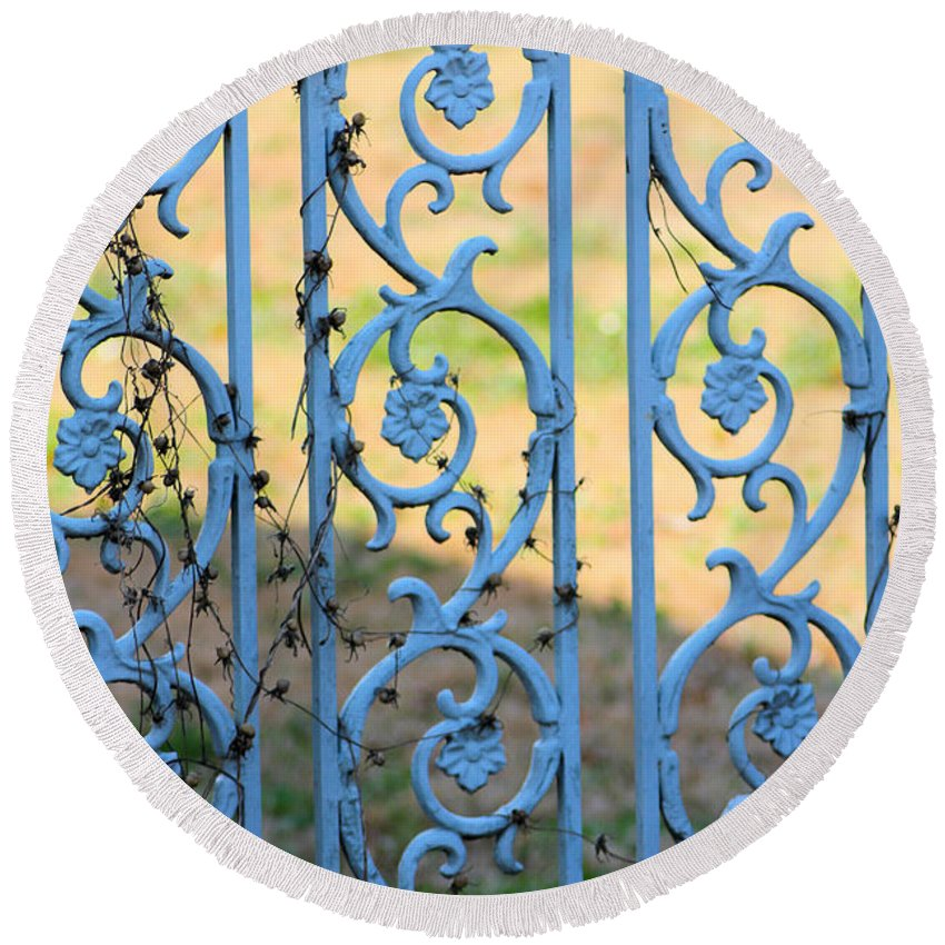 Blue Round Beach Towel featuring the photograph Blue Gate Swirls by Karen Wagner
