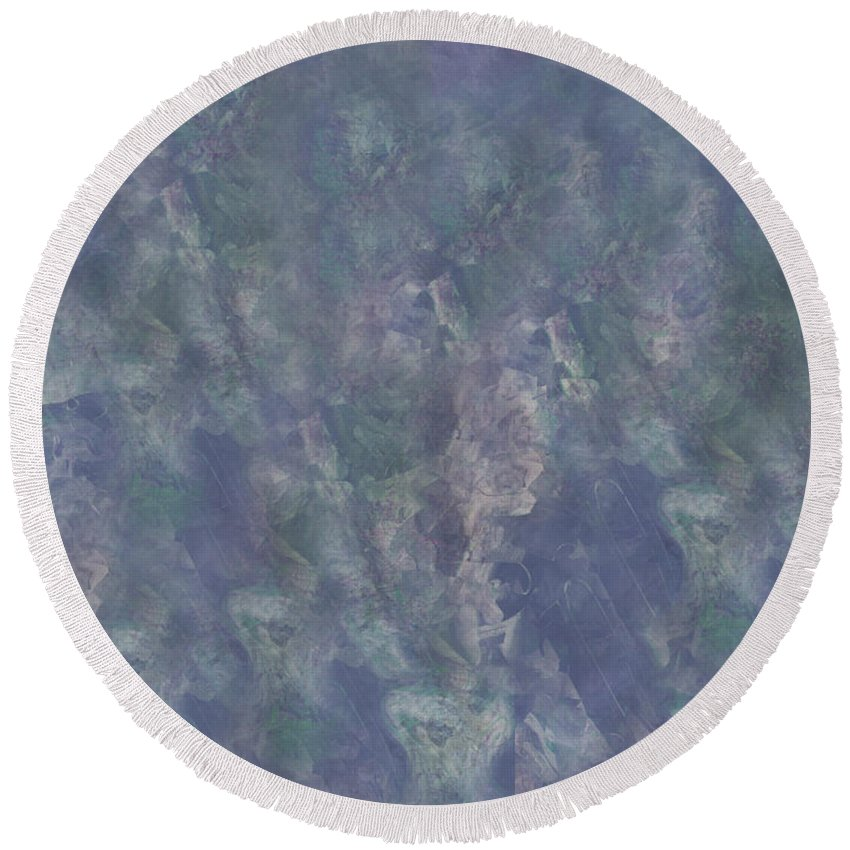Abstract Round Beach Towel featuring the digital art Blue Grey Abstract by Debbie Portwood