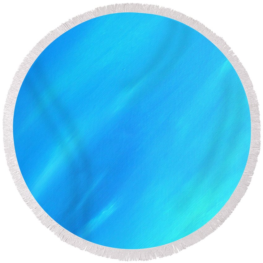 Blue Round Beach Towel featuring the painting Blue Moon by Peggy Starks