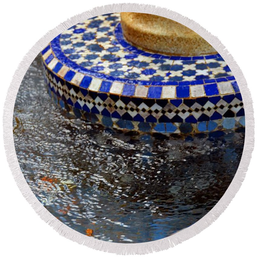Photo Round Beach Towel featuring the photograph Blue Mosaic Fountain II by Bonnie Myszka