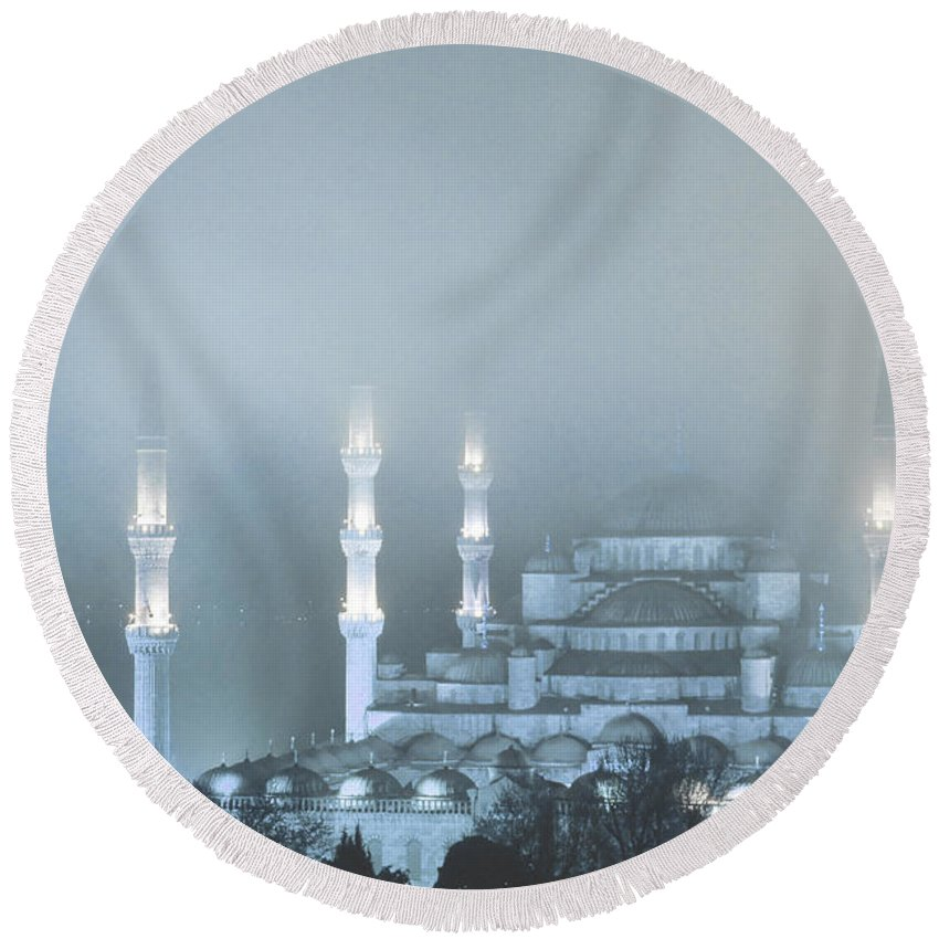 Europe Round Beach Towel featuring the photograph Blue Mosque In Blue Mist by Michele Burgess