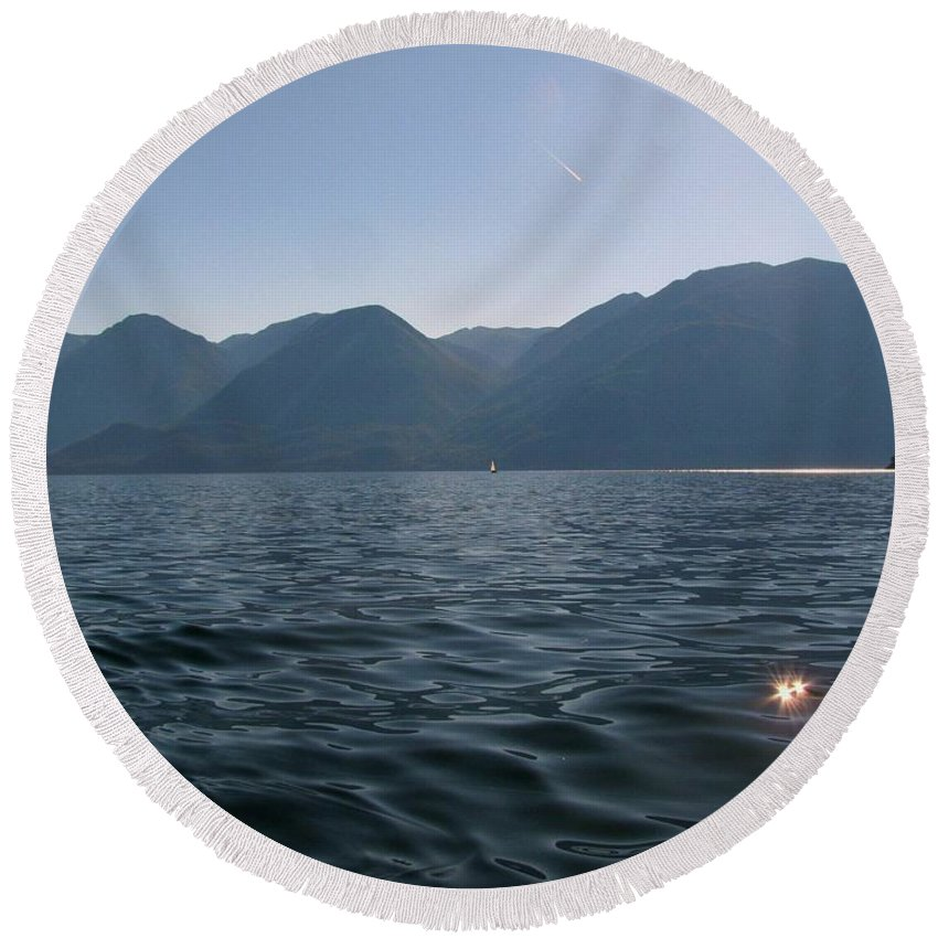 Kootenay Lake Round Beach Towel featuring the photograph Blue On Blue by Leone Lund