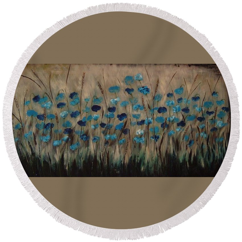 Sepia Tones Round Beach Towel featuring the painting Blue Poppies And Gold Wheat by Julie Cranfill