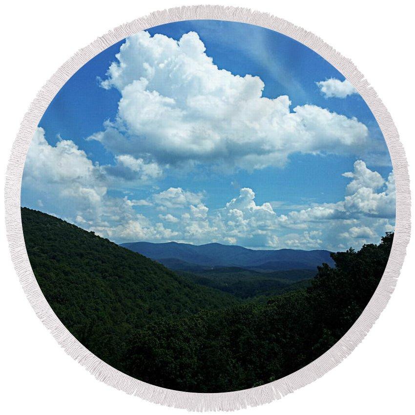 Blue Ridge Mountains Round Beach Towel featuring the photograph Blue Ridge Mountains by Paul Wilford