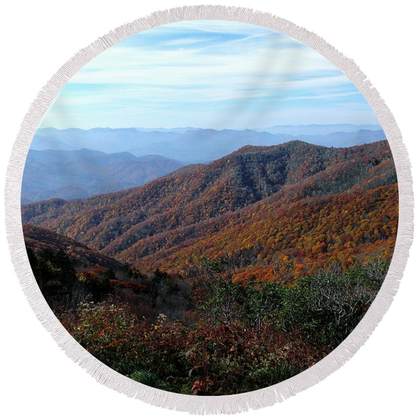 Round Beach Towel featuring the photograph Blue Ridge Parkway by Douglas Stucky