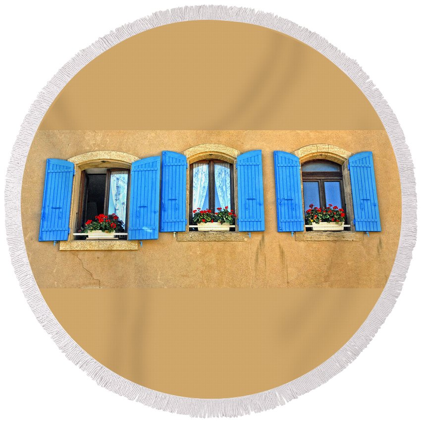 Windows Round Beach Towel featuring the photograph Blue Shutters In Provence by Dave Mills