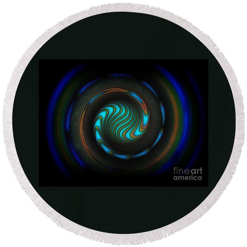Dekor Round Beach Towel featuring the digital art Blue Spiral by Klara Acel