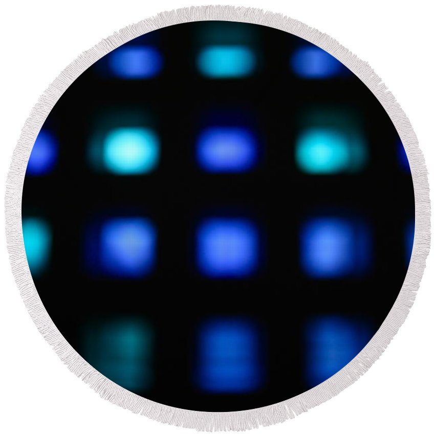 Blue Round Beach Towel featuring the photograph Blue Squares by Snow White