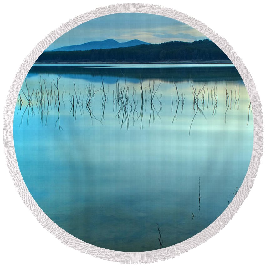 Sunrise Round Beach Towel featuring the photograph Blue Sunset At The Lake by Guido Montanes Castillo